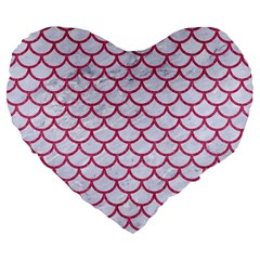 Scales1 White Marble & Pink Denim (r) Large 19  Premium Flano Heart Shape Cushions by trendistuff