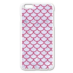 Scales1 White Marble & Pink Denim (r) Apple Iphone 6 Plus/6s Plus Enamel White Case
