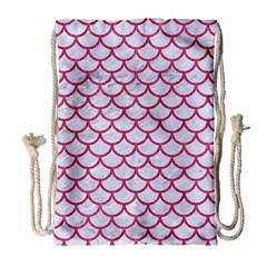 Scales1 White Marble & Pink Denim (r) Drawstring Bag (large) by trendistuff