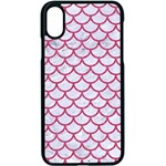 SCALES1 WHITE MARBLE & PINK DENIM (R) Apple iPhone X Seamless Case (Black) Front