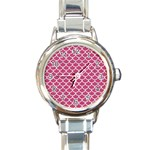 SCALES1 WHITE MARBLE & PINK DENIM Round Italian Charm Watch Front