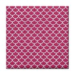 SCALES1 WHITE MARBLE & PINK DENIM Tile Coasters Front