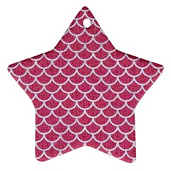 Scales1 White Marble & Pink Denim Ornament (star) by trendistuff
