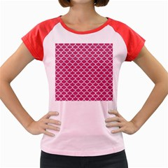 Scales1 White Marble & Pink Denim Women s Cap Sleeve T Shirt by trendistuff