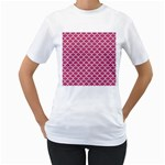 SCALES1 WHITE MARBLE & PINK DENIM Women s T-Shirt (White) (Two Sided) Front