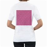 SCALES1 WHITE MARBLE & PINK DENIM Women s T-Shirt (White) (Two Sided) Back