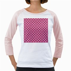 Scales1 White Marble & Pink Denim Girly Raglans