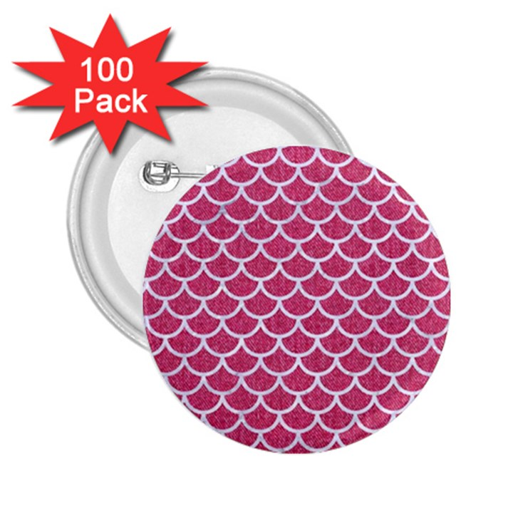 SCALES1 WHITE MARBLE & PINK DENIM 2.25  Buttons (100 pack)