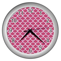 Scales1 White Marble & Pink Denim Wall Clocks (silver)