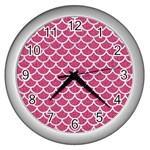SCALES1 WHITE MARBLE & PINK DENIM Wall Clocks (Silver)  Front