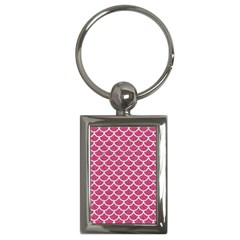 Scales1 White Marble & Pink Denim Key Chains (rectangle)  by trendistuff