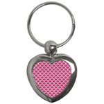 SCALES1 WHITE MARBLE & PINK DENIM Key Chains (Heart)  Front