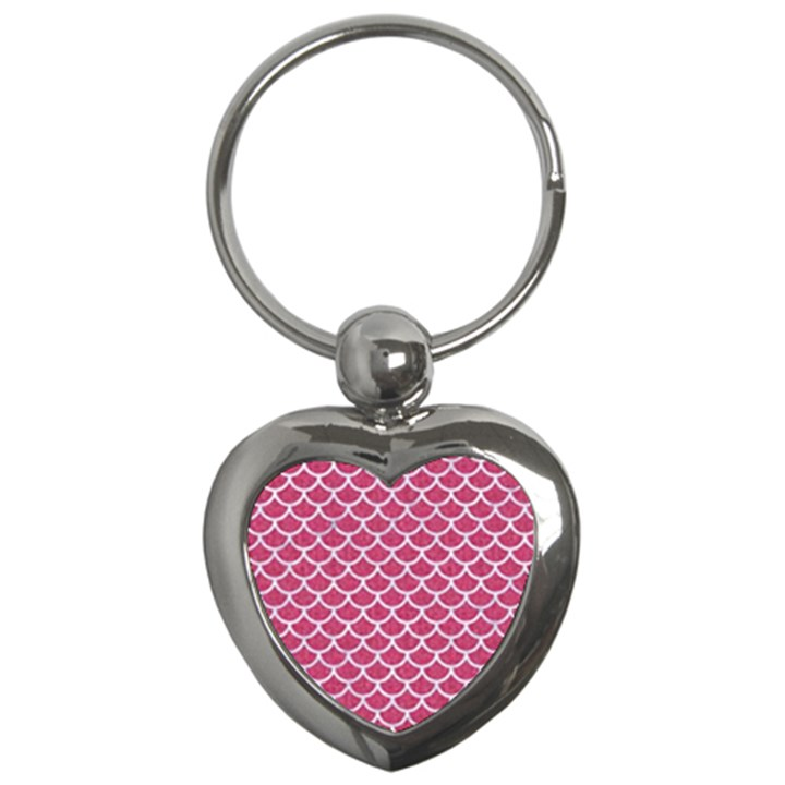 SCALES1 WHITE MARBLE & PINK DENIM Key Chains (Heart)