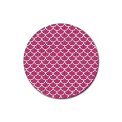 Scales1 White Marble & Pink Denim Rubber Round Coaster (4 Pack)