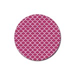 SCALES1 WHITE MARBLE & PINK DENIM Rubber Round Coaster (4 pack)  Front