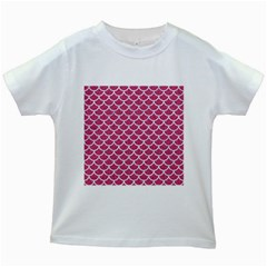 Scales1 White Marble & Pink Denim Kids White T Shirts by trendistuff