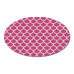 Scales1 White Marble & Pink Denim Oval Magnet by trendistuff