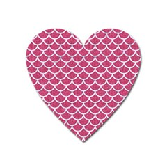 Scales1 White Marble & Pink Denim Heart Magnet