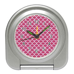 Scales1 White Marble & Pink Denim Travel Alarm Clocks by trendistuff