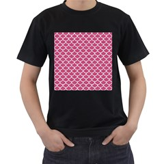 Scales1 White Marble & Pink Denim Men s T Shirt (black) (two Sided)