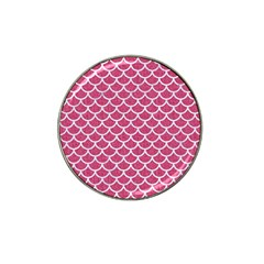 Scales1 White Marble & Pink Denim Hat Clip Ball Marker (4 Pack) by trendistuff
