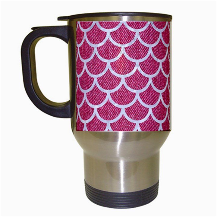 SCALES1 WHITE MARBLE & PINK DENIM Travel Mugs (White)