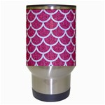 SCALES1 WHITE MARBLE & PINK DENIM Travel Mugs (White) Center