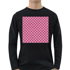 Scales1 White Marble & Pink Denim Long Sleeve Dark T Shirts by trendistuff