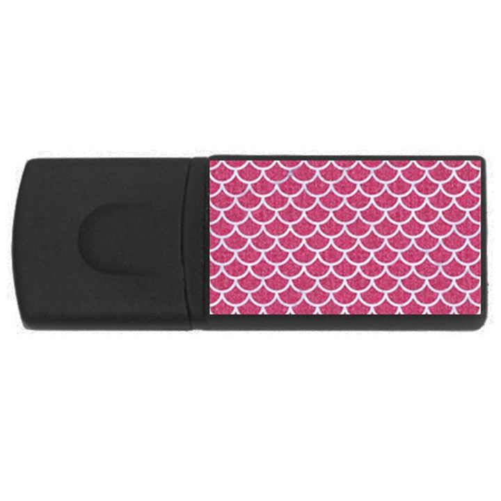 SCALES1 WHITE MARBLE & PINK DENIM Rectangular USB Flash Drive