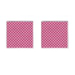 SCALES1 WHITE MARBLE & PINK DENIM Cufflinks (Square) Front(Pair)