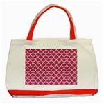 SCALES1 WHITE MARBLE & PINK DENIM Classic Tote Bag (Red) Front