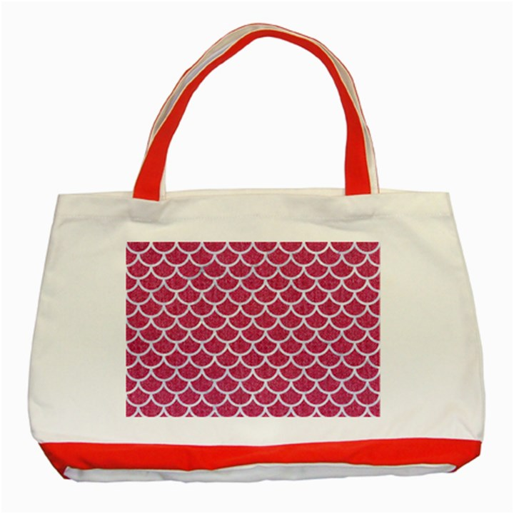 SCALES1 WHITE MARBLE & PINK DENIM Classic Tote Bag (Red)