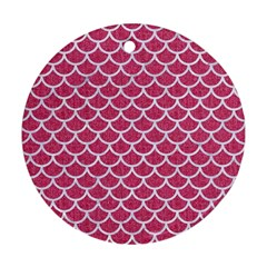 Scales1 White Marble & Pink Denim Round Ornament (two Sides) by trendistuff