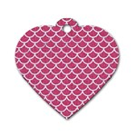 SCALES1 WHITE MARBLE & PINK DENIM Dog Tag Heart (Two Sides) Front