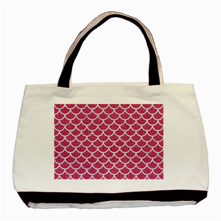 SCALES1 WHITE MARBLE & PINK DENIM Basic Tote Bag (Two Sides)
