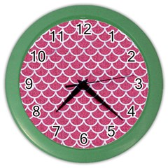 Scales1 White Marble & Pink Denim Color Wall Clocks by trendistuff
