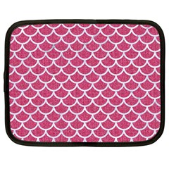 Scales1 White Marble & Pink Denim Netbook Case (large) by trendistuff