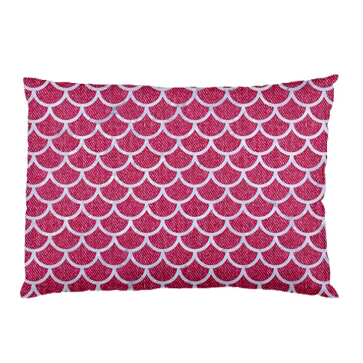 SCALES1 WHITE MARBLE & PINK DENIM Pillow Case