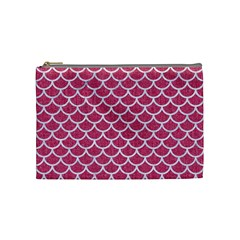 Scales1 White Marble & Pink Denim Cosmetic Bag (medium)