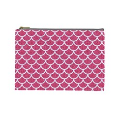 Scales1 White Marble & Pink Denim Cosmetic Bag (large)  by trendistuff
