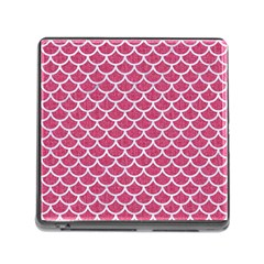 Scales1 White Marble & Pink Denim Memory Card Reader (square)
