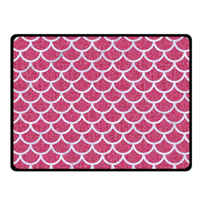 SCALES1 WHITE MARBLE & PINK DENIM Fleece Blanket (Small)