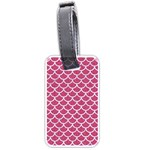 SCALES1 WHITE MARBLE & PINK DENIM Luggage Tags (Two Sides) Front