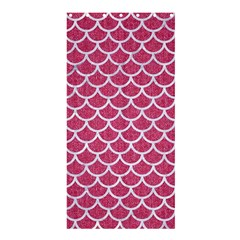 Scales1 White Marble & Pink Denim Shower Curtain 36  X 72  (stall)