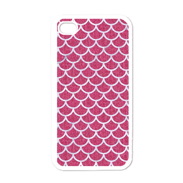 SCALES1 WHITE MARBLE & PINK DENIM Apple iPhone 4 Case (White)