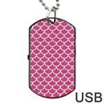SCALES1 WHITE MARBLE & PINK DENIM Dog Tag USB Flash (One Side) Front