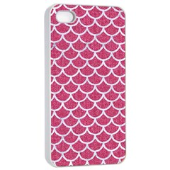 Scales1 White Marble & Pink Denim Apple Iphone 4/4s Seamless Case (white) by trendistuff