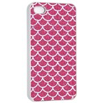 SCALES1 WHITE MARBLE & PINK DENIM Apple iPhone 4/4s Seamless Case (White) Front