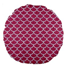 Scales1 White Marble & Pink Denim Large 18  Premium Round Cushions by trendistuff