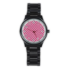 Scales1 White Marble & Pink Denim Stainless Steel Round Watch by trendistuff